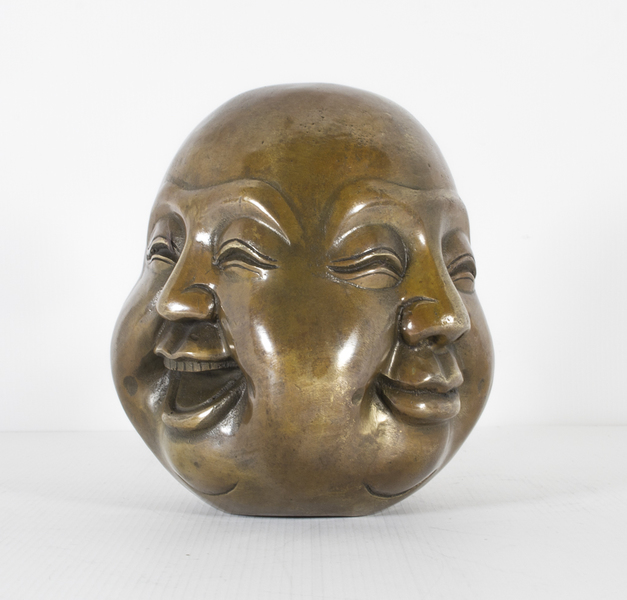 Medium Bronze Four Face Buddha Brahma Hindu Sculpture