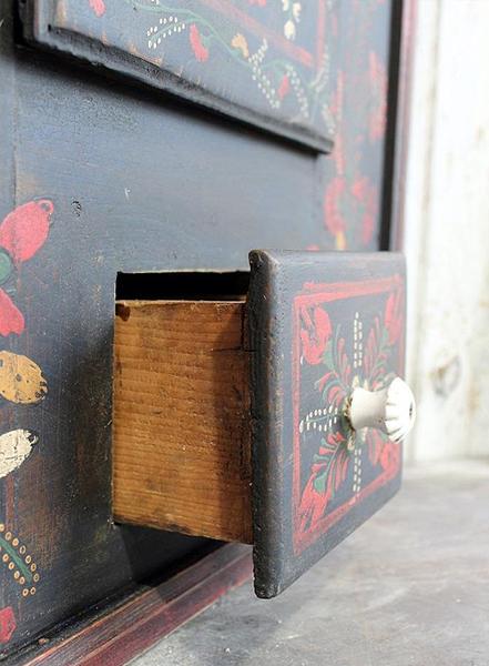 C159: Painted Hungarian Corner Cupboard