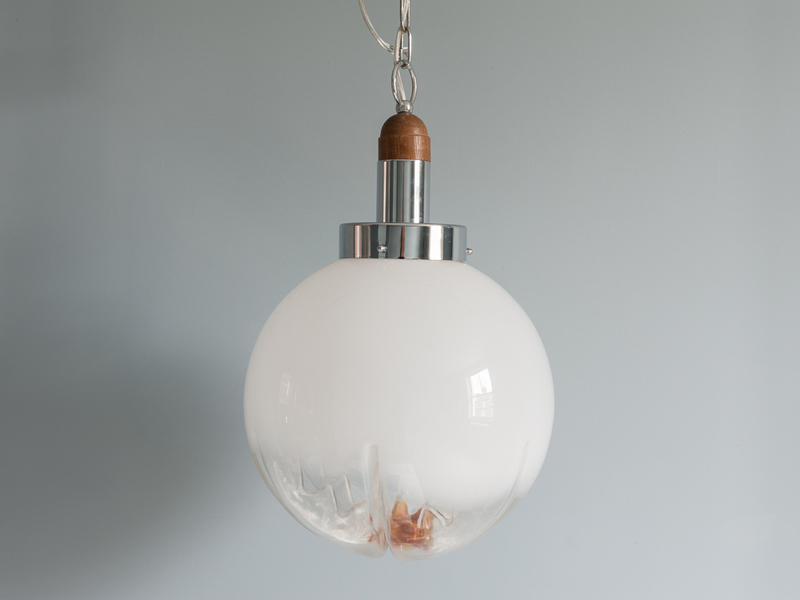 Mazzega Murano Glass Flower Pendant Light
