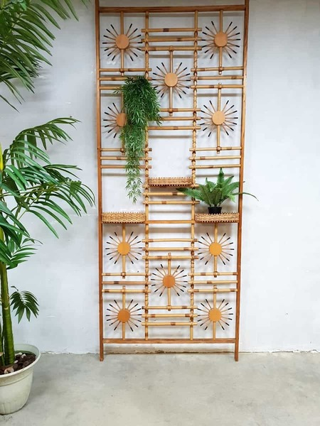Vintage Midcentury Modern Bamboo Room Divider Wall Unit Folding Screen