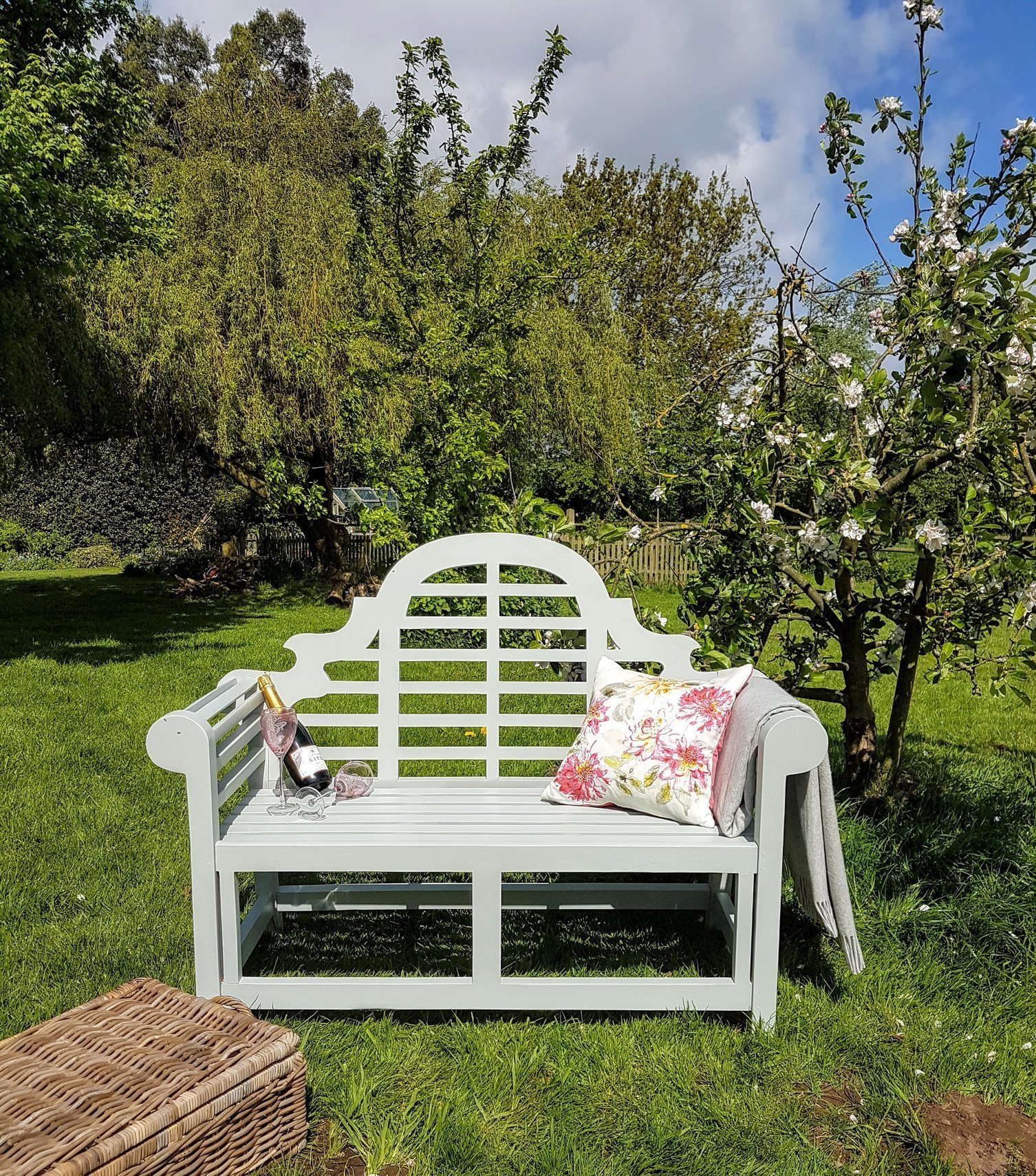 Excellent Lutyens Garden Bench Hand Painted Pale Blue Ibusinesslaw Wood Chair Design Ideas Ibusinesslaworg