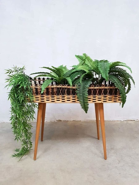 Danish Vintage Rattan Plant Stand Plantenbak Rotan Plantenstandaard Deens
