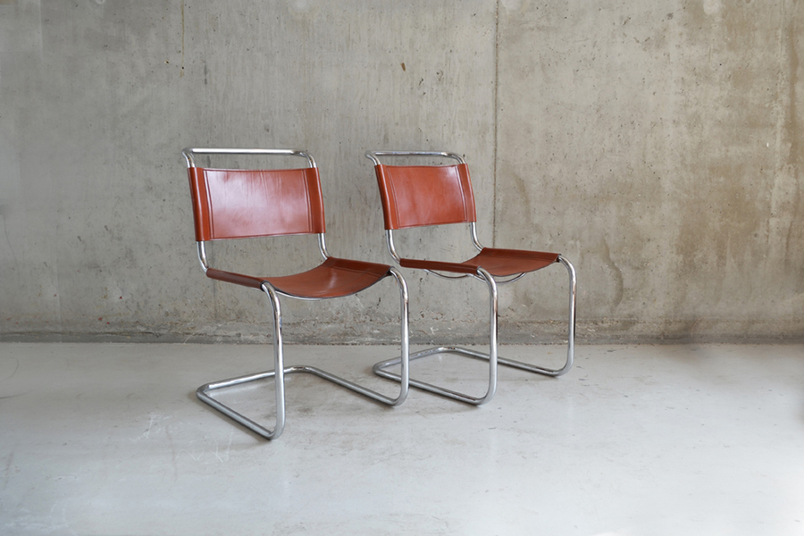 Pair Of Bauhaus Style 1970's Tan Leather Chairs