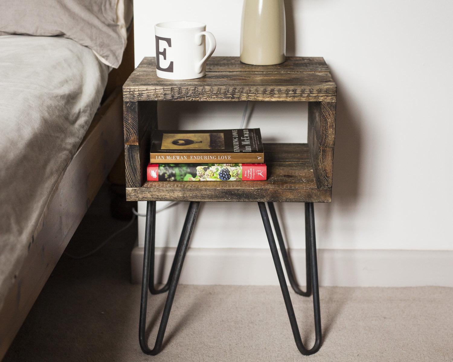Bedside Table Industrial Nightstand With Hairpin Legs