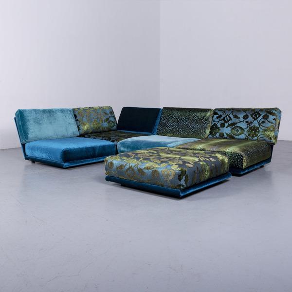 Bretz Napali Designer Fabric Sofa Blue Corner Sofa Couch #6523