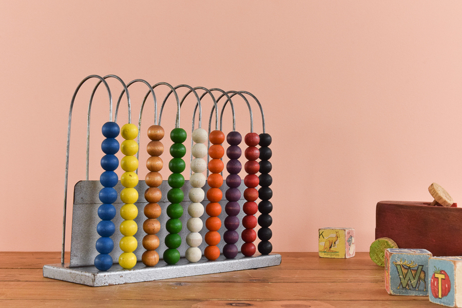 Vintage Rustic Metal Double Sided Abacus With Colourful Wooden Beads