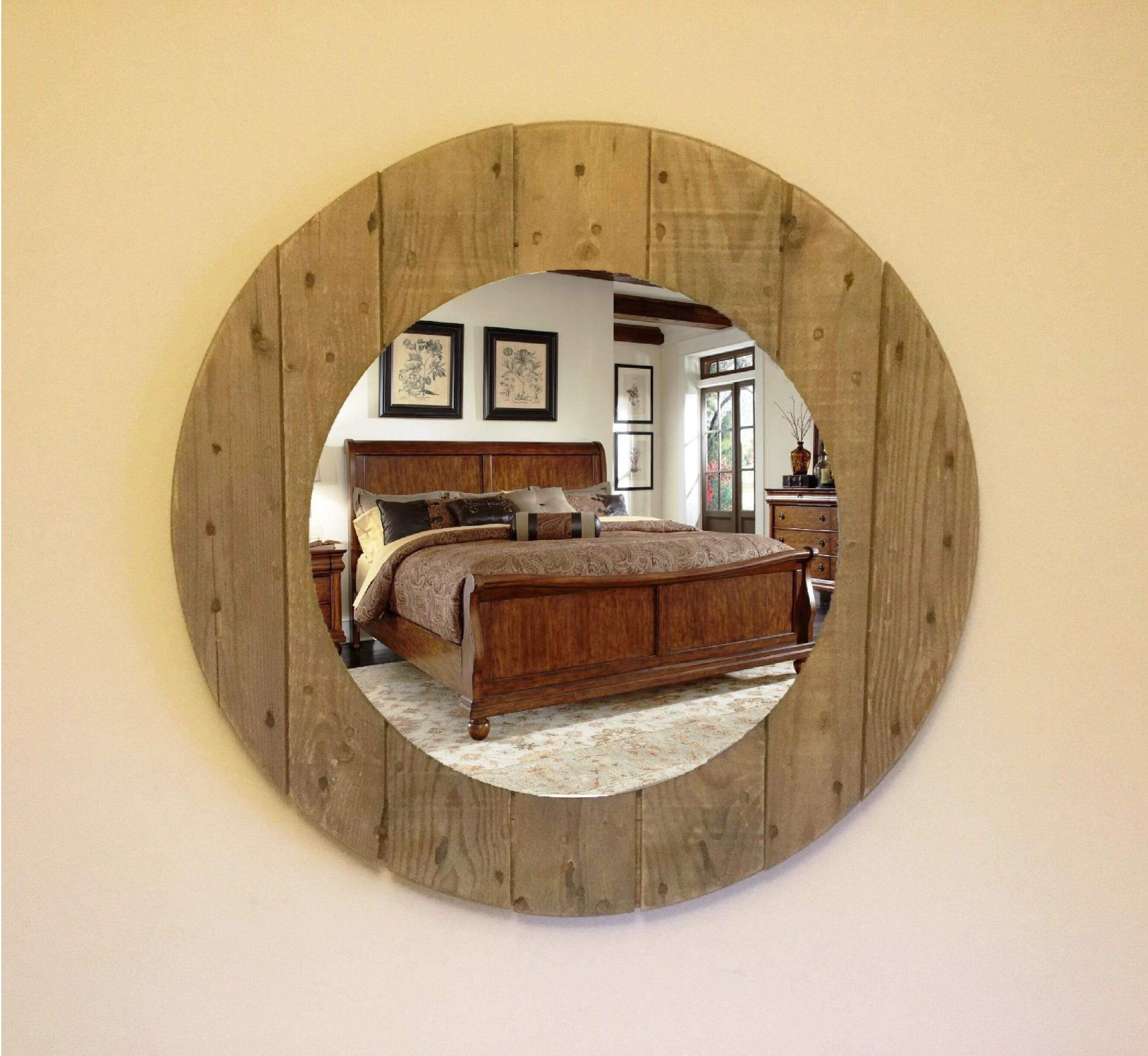 Recycled Rustic Reclaimed Wooden Cable Reel Wall Mirror