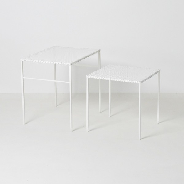 Artimeta Soest White Perforated Metal Tables   20% Off Sale photo 1