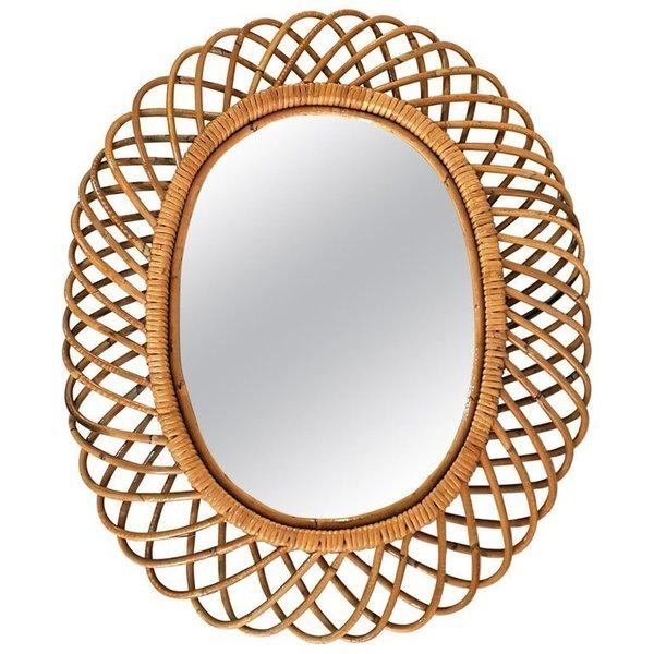 Rattan Mirror In The Manner Of Franco Albini