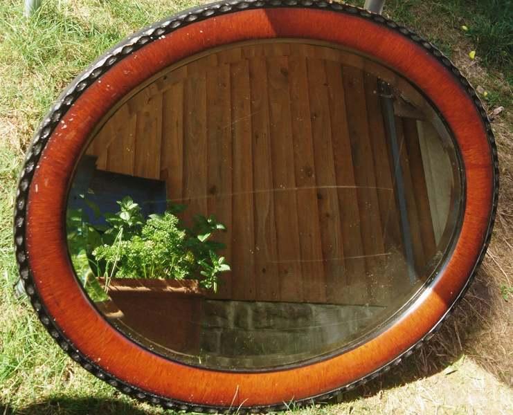 Large Victorian Oval Mirror Mahogany And Ebonised Frame Pie Crust Edge Antique Mirrors Vinterior