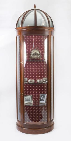 Vintage Mahogany Dome Top Half Round Display Cabinet