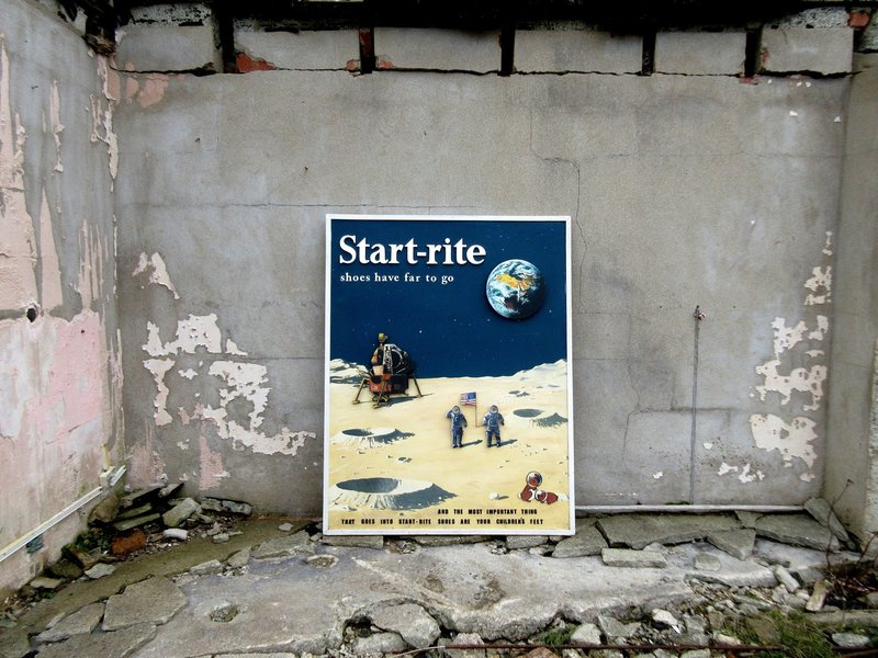 Vintage Very Large Start Rite Shoes Moon Landing Wooden Board Advertising Sign