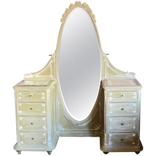 French Louis Xvi Style Painted Vanity Dressing Table, Circa 1900 | Vinterior
