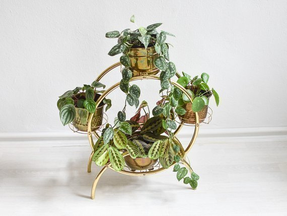 Modern Plant Stand In Gold From The 90s