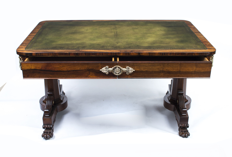 Antique Regency Rosewood Writing Library Table C.1820 photo 1