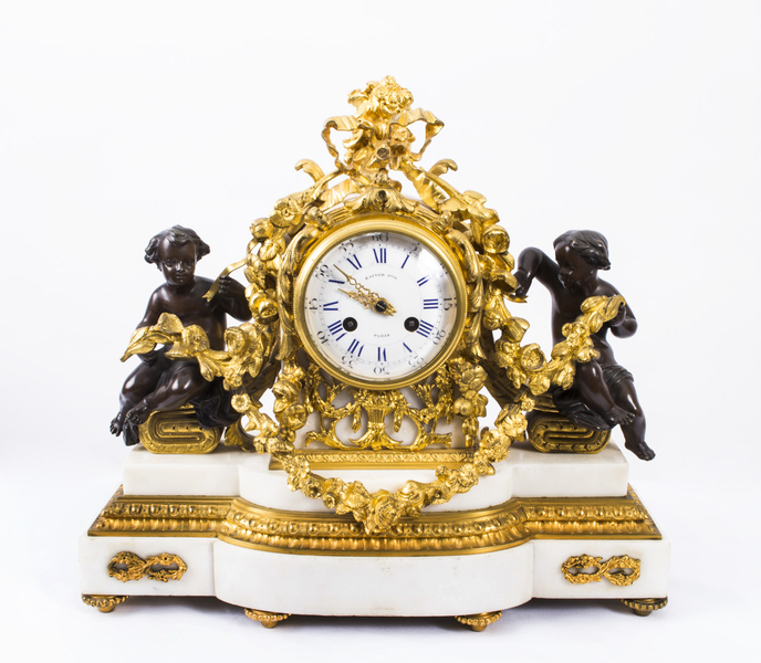 Antique French White Marble & Ormolu Mantel Clock C1860 photo 1