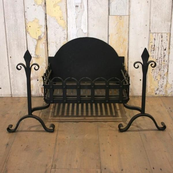 Reclaimed Gothic Style Wrought Iron Fire Basket