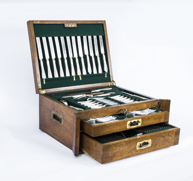 Antique Canteen X 12 Silver Plated Cutlery Set Albany Pattern