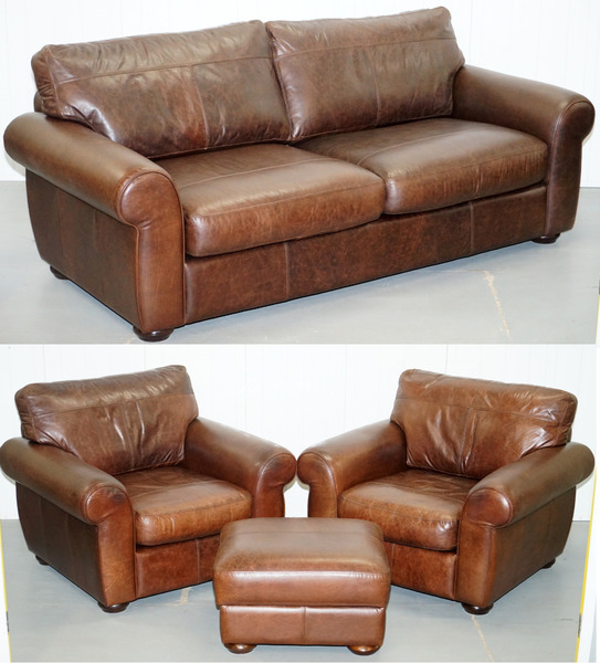 Astounding Aged Brown Leather Madison Suite Sofa Pair Armchairs Footstool Ottoman Short Links Chair Design For Home Short Linksinfo