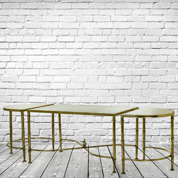 Set Of 3 Contemporary Side Tables Coffee Table Gold Leaf With White Marble Top