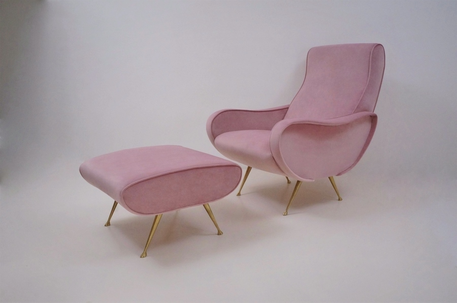 Marco Zanuso Lady Style Chair & Footstool, Newly Made In Velvet, Italian