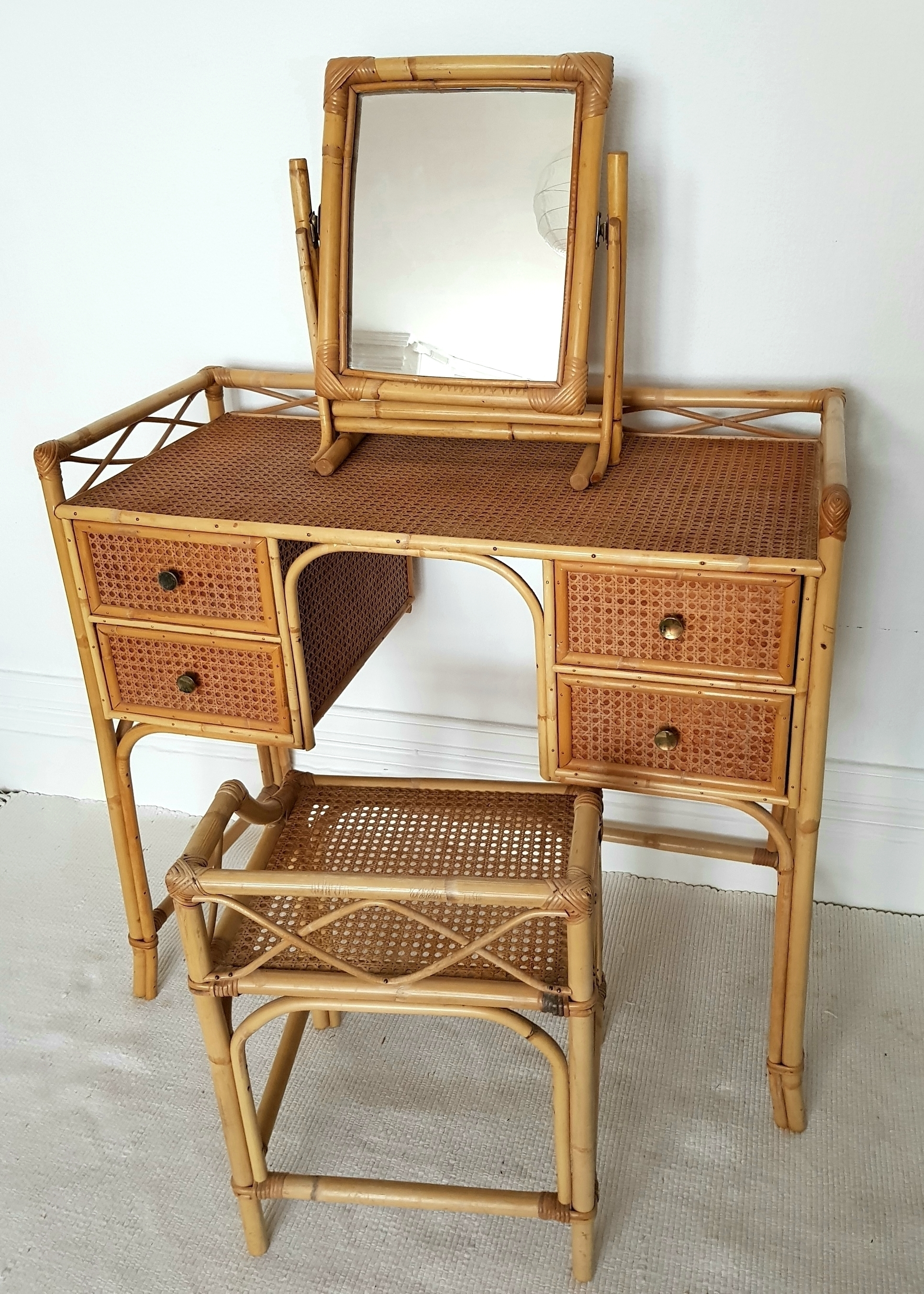 Midcentury Bamboo Rattan Dressing Table Set Cane Desk With Stool And Mirror Bohemian Vinterior