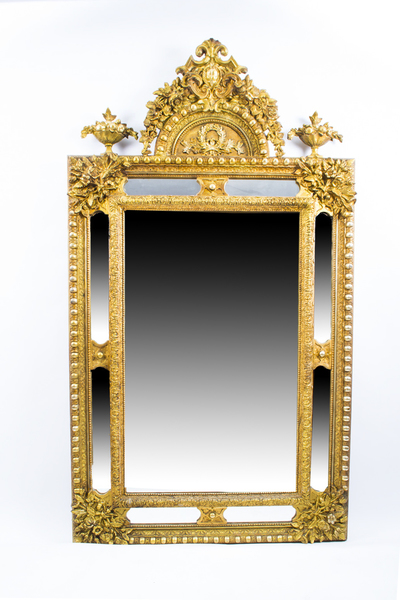 Antique Giltwood Overmantel Rococo Cushion Mirror C1870 photo 1