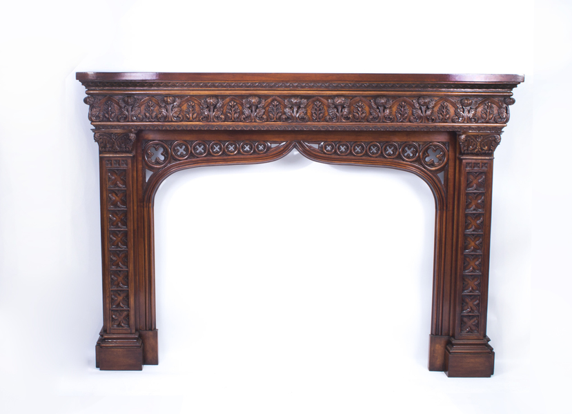 Early 20th C Neo Gothic Carved Mahogany Chimney Piece photo 1