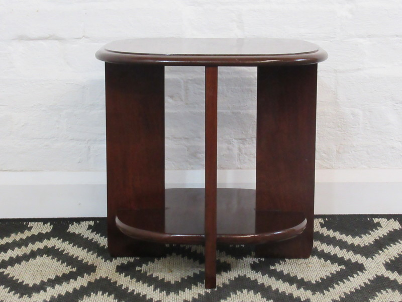 Vintage Art Deco Style Dark Wooden Small Two Tier Side, Occasional Or Lamp Table