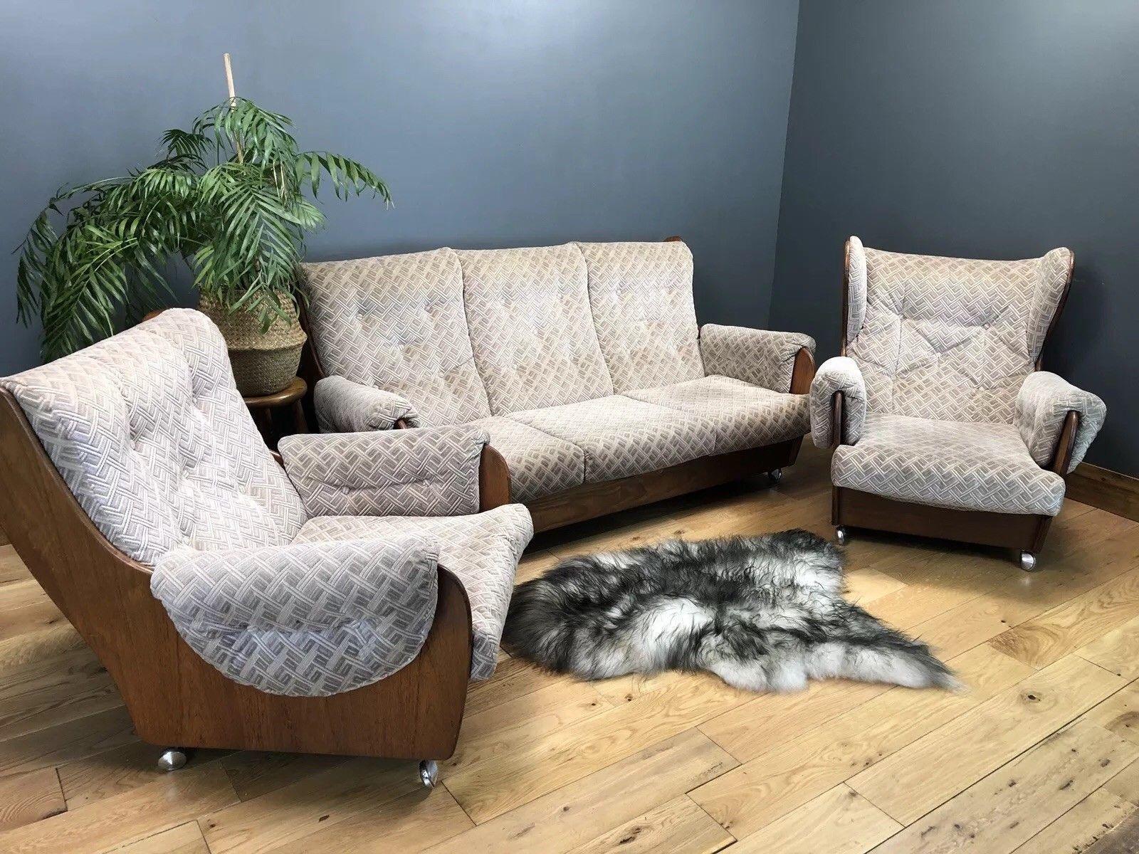 Retro Mid Century Vintage G Plan Armchair Chair Saddleback Teak Sofa Couch Suite G Plan Vinterior