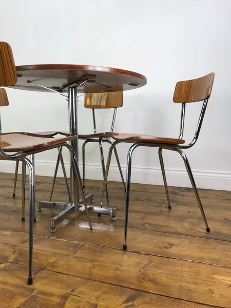 Fantastic Retro Dining Table And Chairs Vintage Chrome Drop Leaf Compact Vinterior