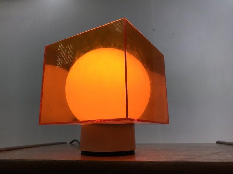 Fantastic Mid Century Cube Lamp Orange Perspex Desk Table Vintage Retro Shade