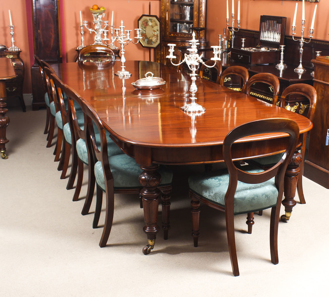 Antique 12 Ft Victorian D End Mahogany Dining Table 14 Chairs 19th C Vinterior