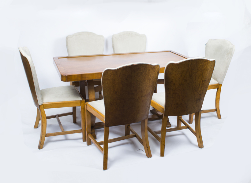 Antique Art Deco Dining Table & 6 Chairs C1930 photo 1
