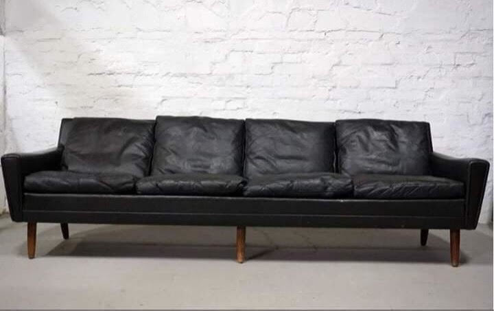 Mid Century, Vintage Original Georg Thams 4 Seater Leather Sofa From 1960s