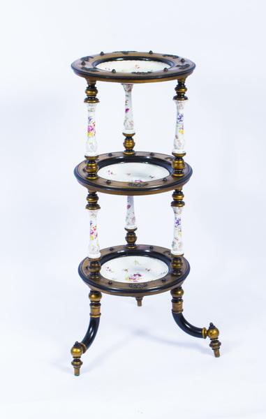 Antique French Porcelain & Ormolu Mounted Etagere C1880