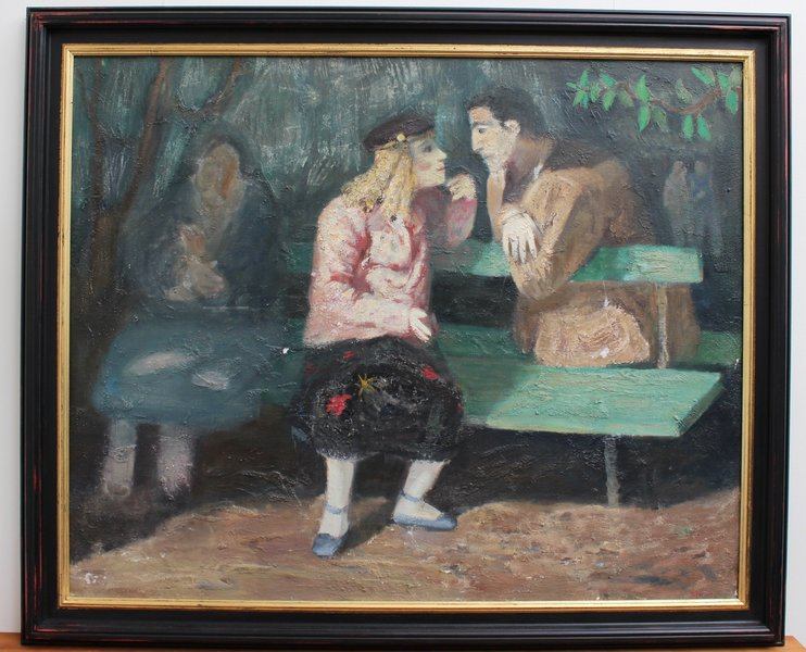 'The Lovers On The Park Bench' By Simon (Circa 1950s)
