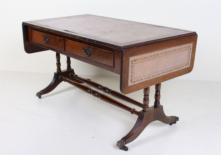 Superb Antique Vintage Sofa Table Drop Leaf Folding Console Table Leather Mahogany Ncnpc Chair Design For Home Ncnpcorg