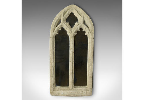 Vintage Wall Mirror, Pugin Esque, Gothic Revival, Stone, Ecclesiastical, C20th