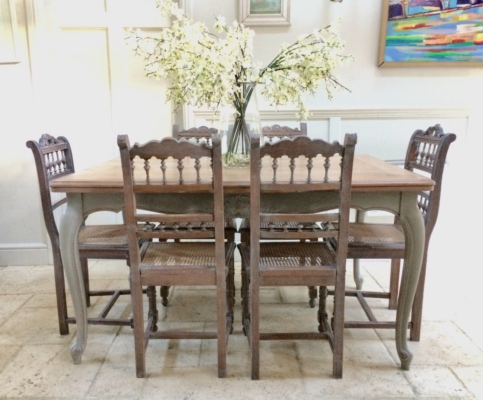 Tremendous Vintage Painted French Limed Oak Extending Dining Table 8 Victorian Chairs Inzonedesignstudio Interior Chair Design Inzonedesignstudiocom