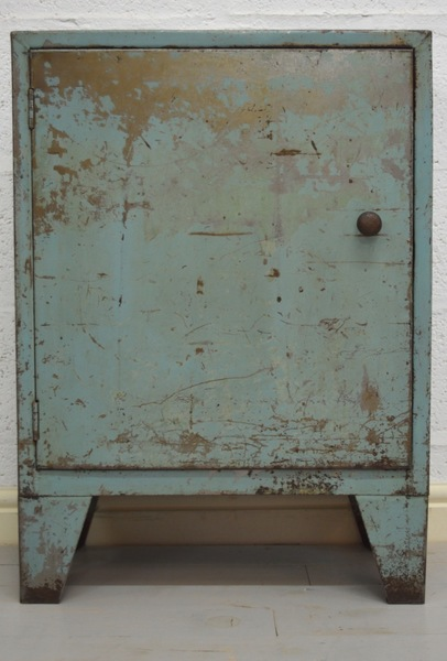 Mid Century Retro Industrial Slim Blue Metal Cabinet