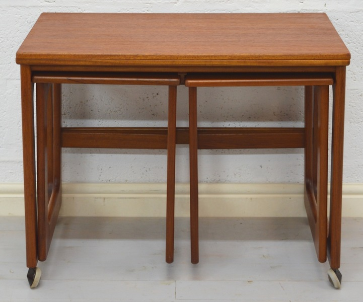 Mid Century Triform Nest Of Tables/Card Table By Mc Intosh