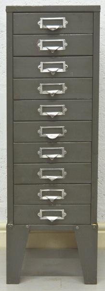 Mid Century Vintage 10 Drawer Industrial Metal Cabinet