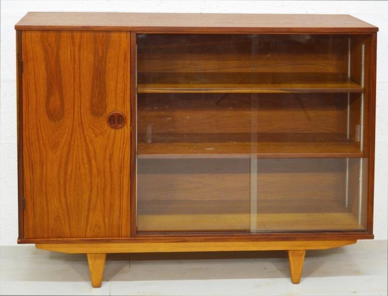 Mid Century Vintage Teak 1960's Glass Cabinet/Bookcase photo 1