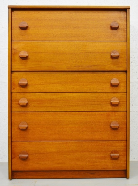Mid Century Vintage Teak Tallboy/Chest Of Drawers By Stag
