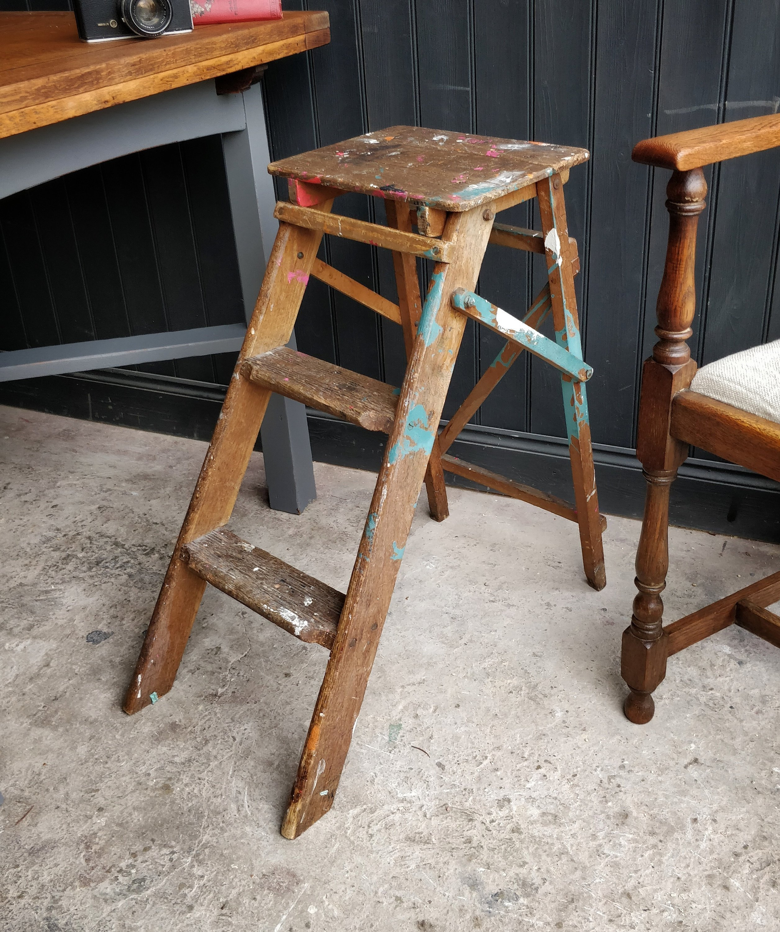 Vintage Step Ladder Rustic Ladder Ladder Display Shop Display Garden Decor Wooden Ladder Ladder Shelves Vinterior