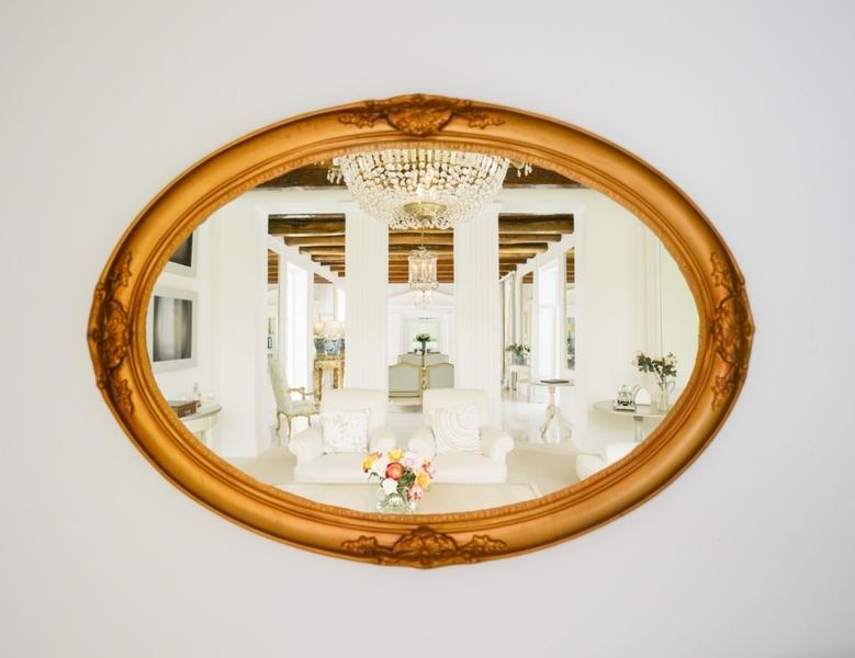 Rare Large Oval Gold Antique Mirror, Classic French Mirror, Ornate Mirror, Circa 1960's Decorative Mirror, Shabby Chic Old Vintage Mirror