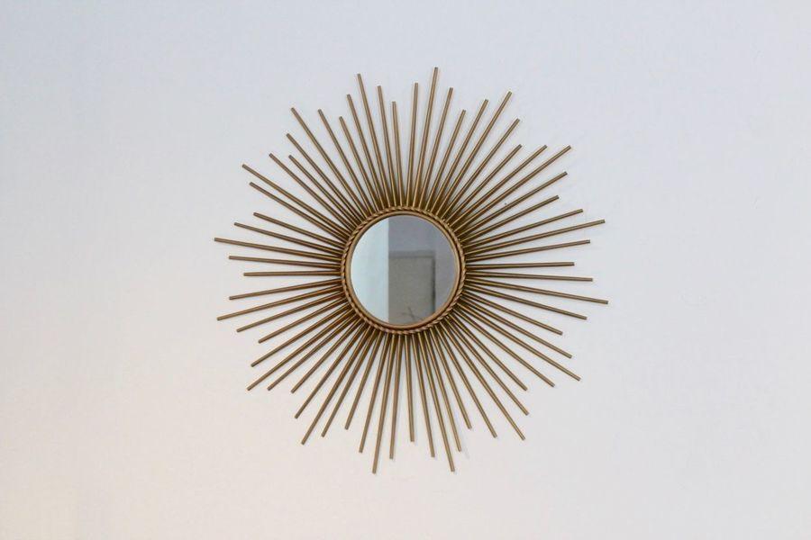 Sunburst Mirror In Gilt Metal From Chaty Vallauris, 1960s