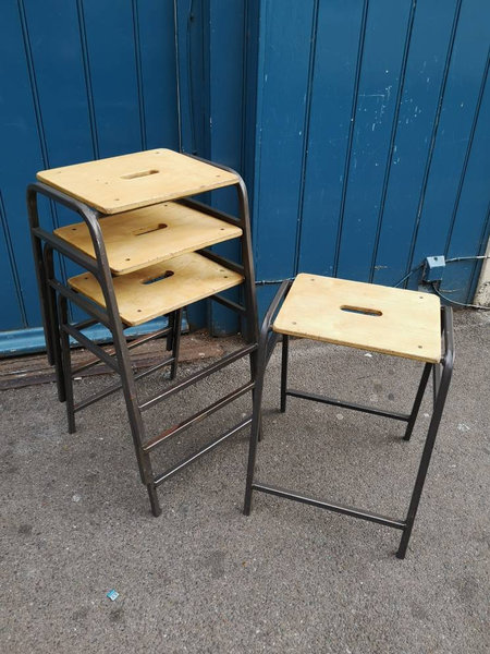 Tremendous Set Of Four 1970S School Laboratory Art Room Stacking Stools Vintage Retro Mid Century Pdpeps Interior Chair Design Pdpepsorg