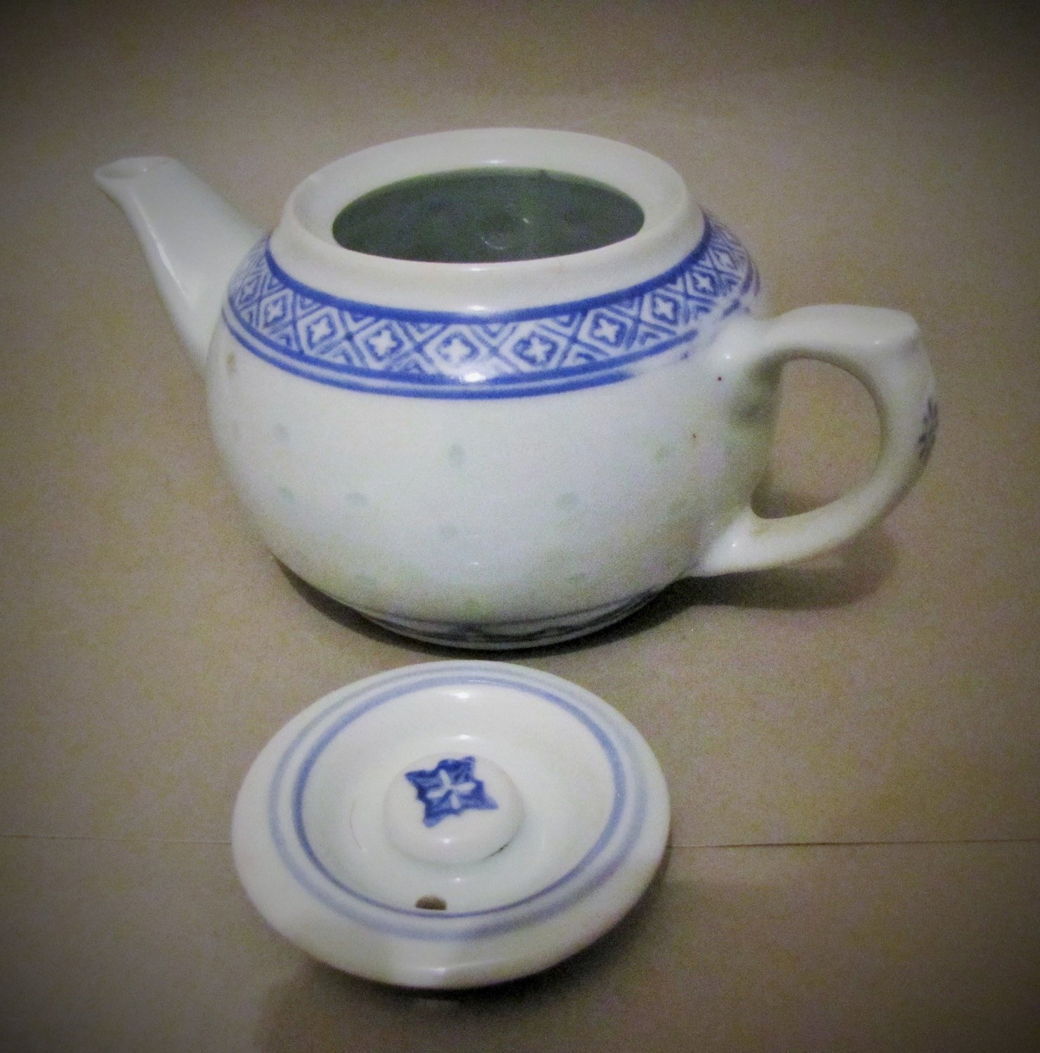 Vintage Blue White Retro Asian Chinese Japanese Butterfly Brass Porcelain Miniature Five Sided Teapot